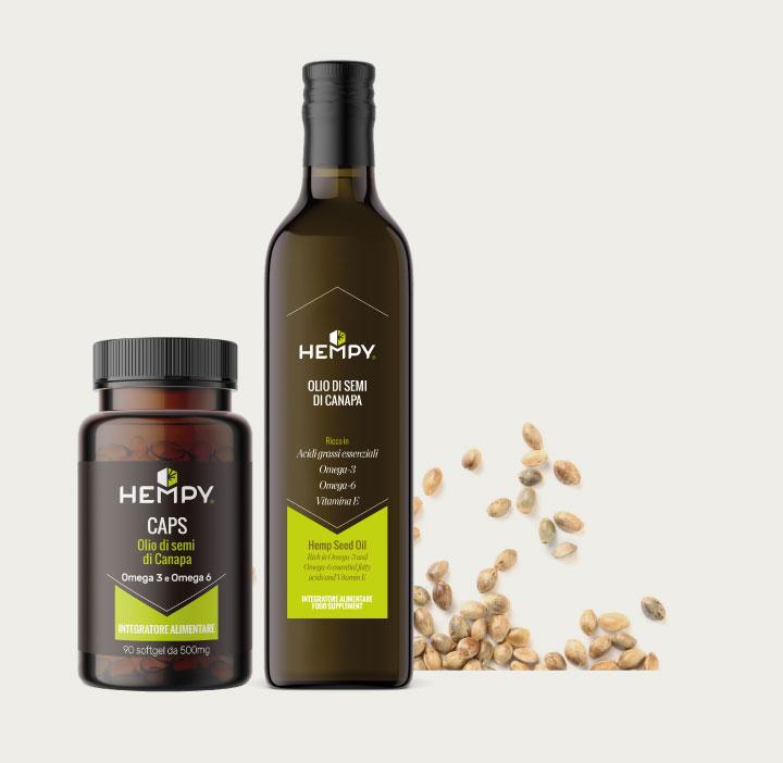 Hempy Nutraceuticals olio di canapa e softgel integratore