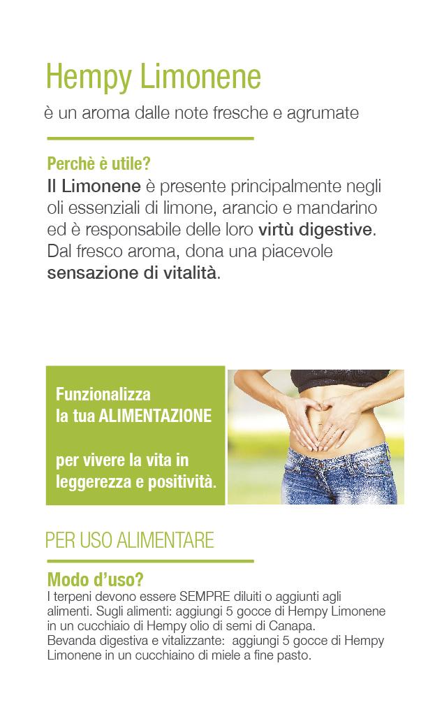 Hempy Limonene rimedio naturale reflusso gastroesofageo, antidepressivo, migliora l'umore.